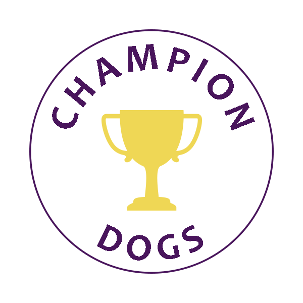 champion winning dogs badge
